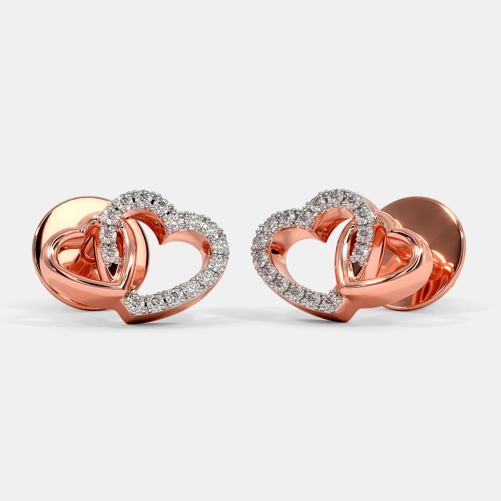 The Twin Heart Stud Earrings For Kids