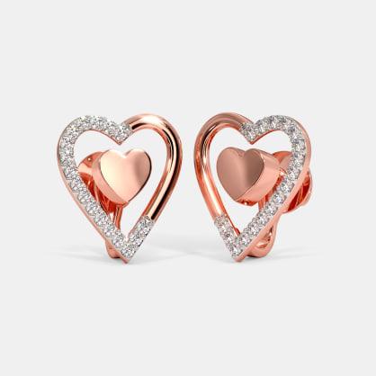 The Lustrous Heart Stud Earrings