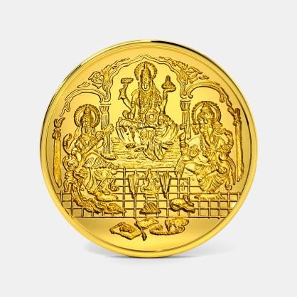 50 gram 24 KT Lakshmi Ganesh Saraswati Gold Coin